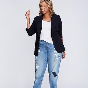 NEW WOMEN LANE BRYANT NAVY BLUE STRIPE BLAZER